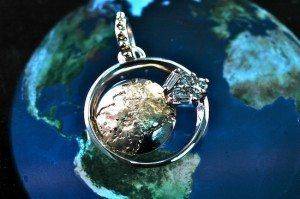 14 Kt yellow and white gold and diamond globe pendant