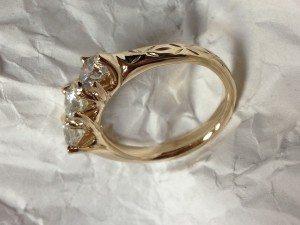 organic style 14 kt yellow gold custom 3 stone diamond ring