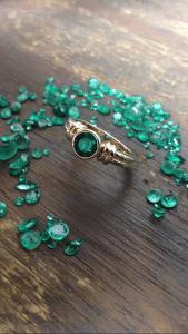 14 Kt yellow gold custom emerald bezel style ring