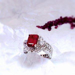 Custom Designed Ruby and Diamond Emerald Cut Ring